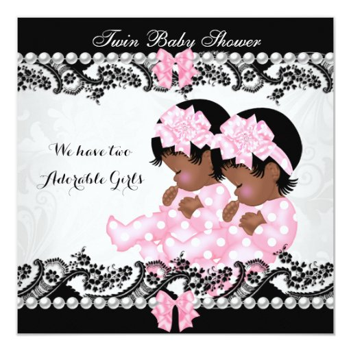 African American Twin Baby Shower Cute Girls Pink Card