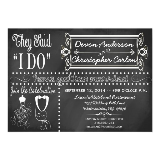 "Invitation For Reception After The Wedding: After Wedding Trendy Chalkboard Invitation 5"" X 7"