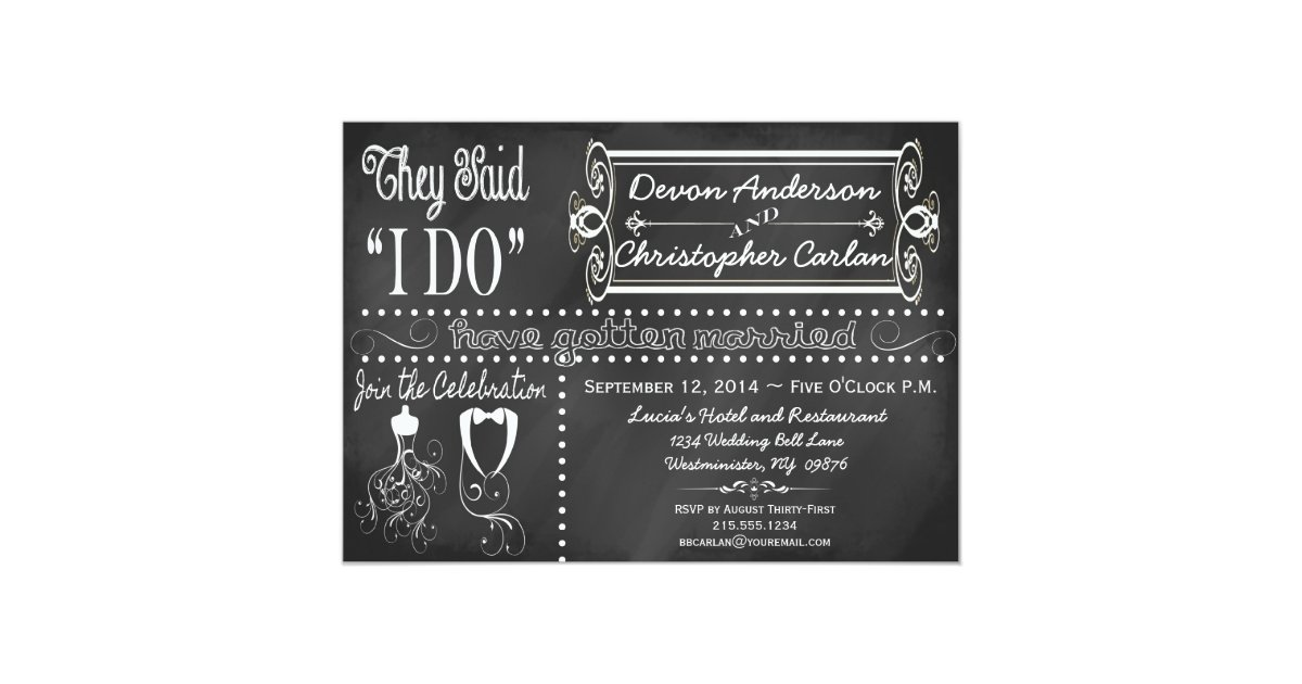 After Wedding Party Invitation: After Wedding Trendy Chalkboard Invitation