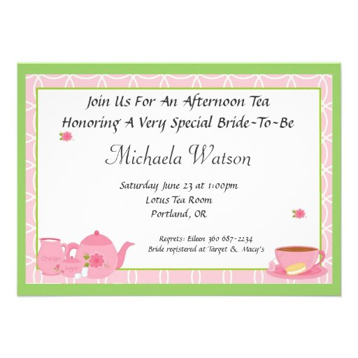 Afternoon Tea 4.5x6.25 Paper Invitation Card