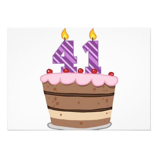 "Age 41 On Birthday Cake 5"" X 7"" Invitation Card"