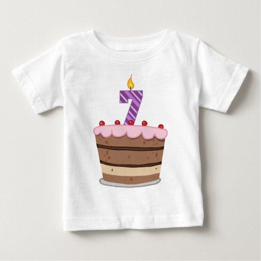 Age 7 On Birthday Cake Baby T Shirt Zazzle