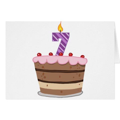 Age 7 On Birthday Cake Card Zazzle