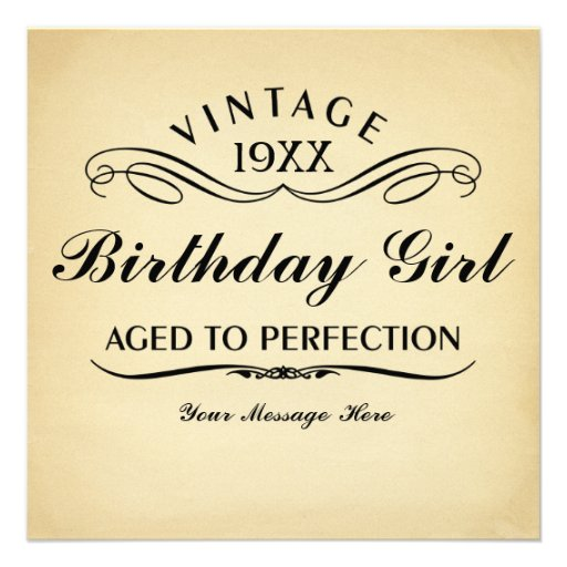 Funny Birthday Cards Invitations: Personalized Aged To Perfection Invitations