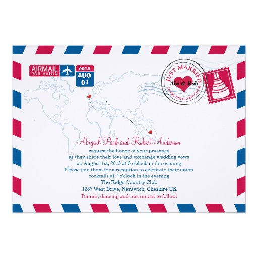 Personalized Air Mail Invitations
