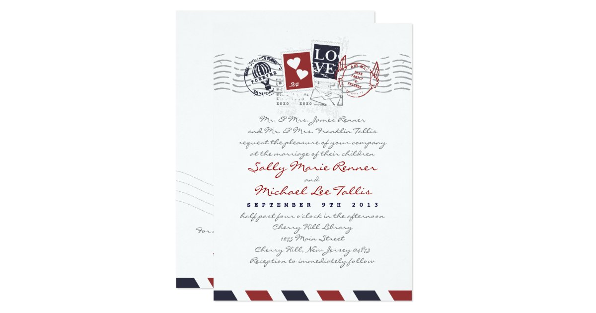 Airmail Wedding Invitations: Airmail Stamps Love Letter Wedding Invitation