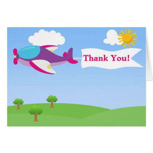 airplane banner girl thank you card  zazzle