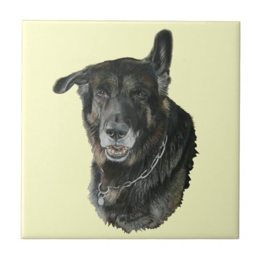 Akita German Shepherd Mixed Breed Dog Art Tile Zazzle