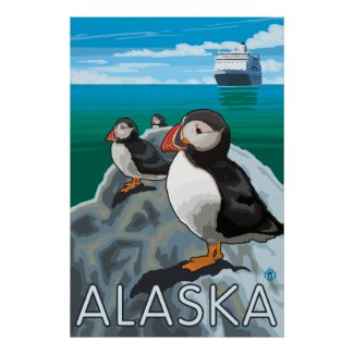 Alaska - Puffins watching a Cruise Ship Poster