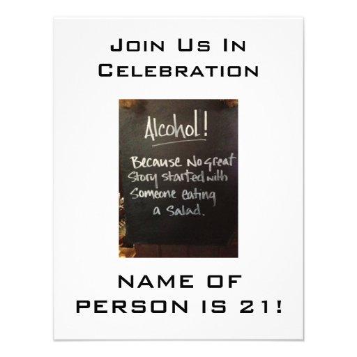ALCOHOL HUMOR-21st BIRTHDAY PARTY INVITATION