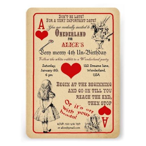 Personalized Alice Wonderland Invitations