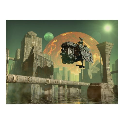 Alien green world poster   Zazzle