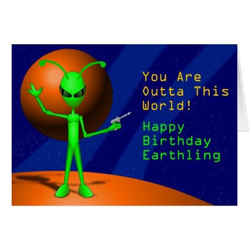 Alien Happy Birthday Card