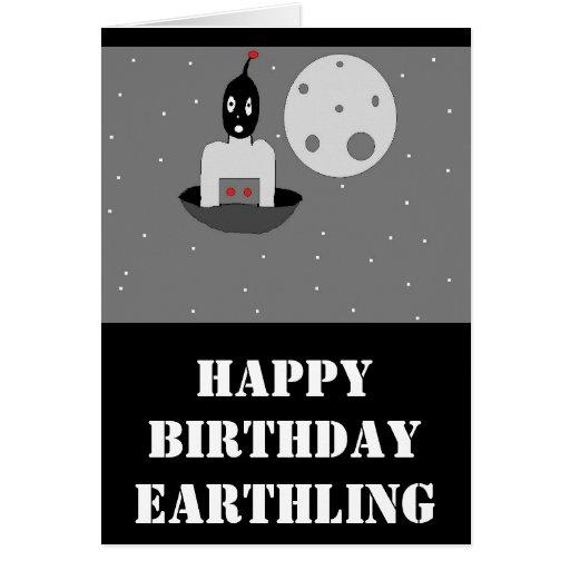 Alien Ufo HAPPY BIRTHDAY Greeting Card