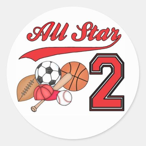 All Star Sports 2nd Birthday Classic Round Sticker