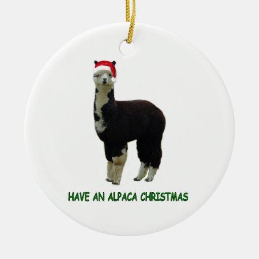 Alpaca Christmas Ceramic Ornament | Zazzle