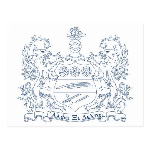 Alpha Xi Delta Crest Blue Postcard | Zazzle