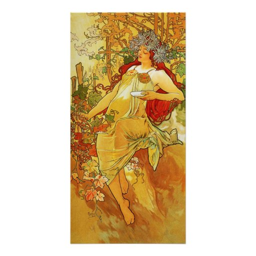 Alphonse Mucha Autumn Poster | Zazzle