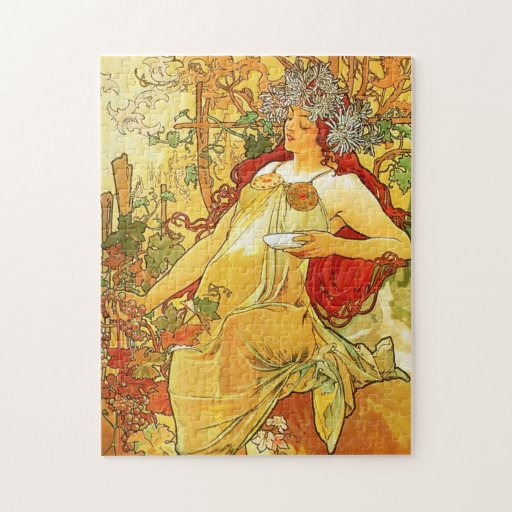 Alphonse Mucha Autumn Puzzle | Zazzle