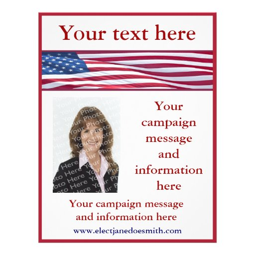 American flag election campaign flyer template zazzle for Voting flyer templates free
