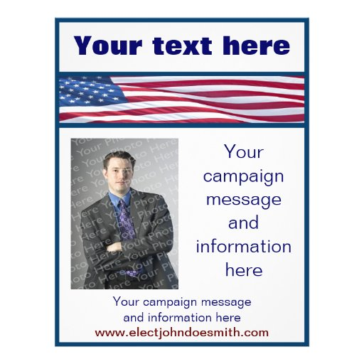 american flag election campaign flyer template zazzle. Black Bedroom Furniture Sets. Home Design Ideas
