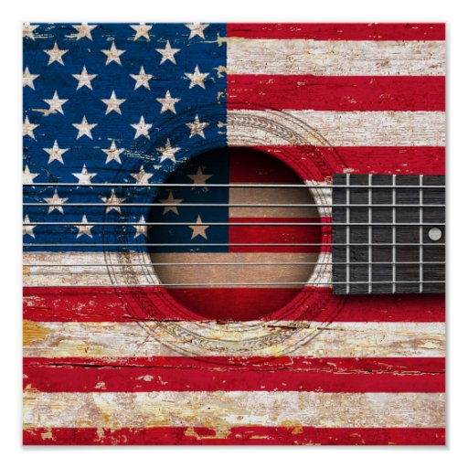 american flag on old acoustic guitar print zazzle. Black Bedroom Furniture Sets. Home Design Ideas