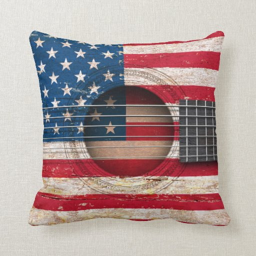 american flag on old acoustic guitar throw pillow zazzle. Black Bedroom Furniture Sets. Home Design Ideas