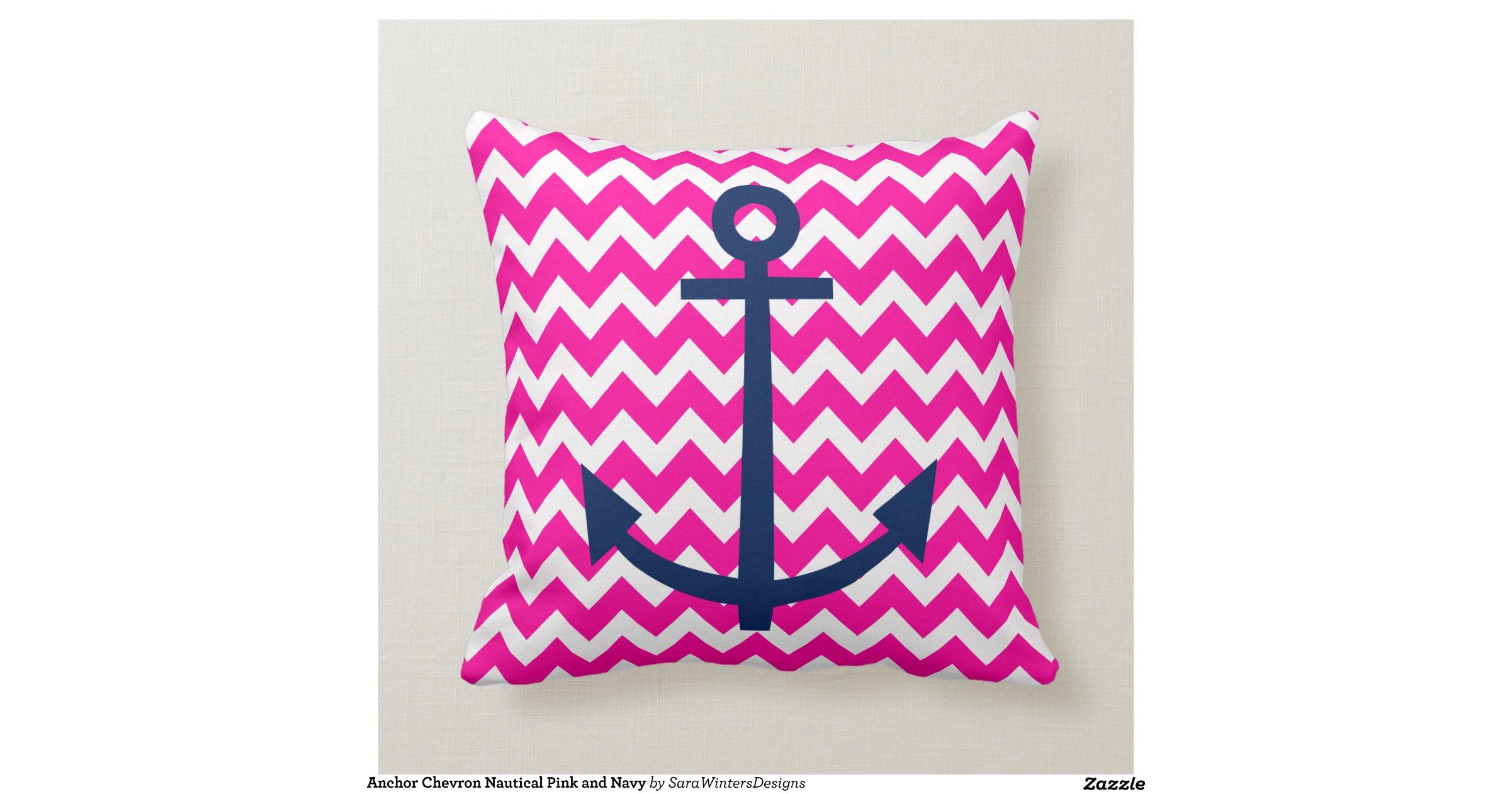 Navy And Pink Decorative Pillows: Anchor_chevron_nautical_pink_and_navy_throw_pillow