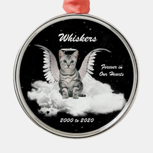 Angel Cat Personalized Memorial Christmas Ornament