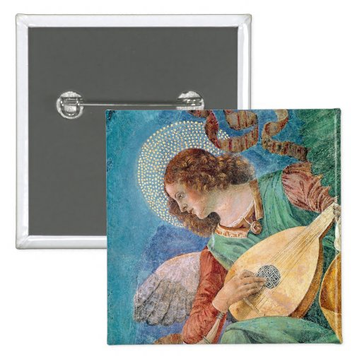 Angel Musician 2-inch Square Button