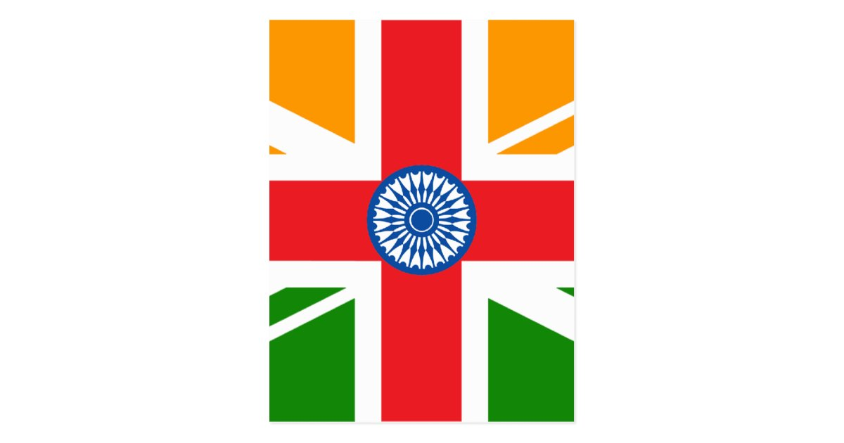 Indian Flag With Different Views: Anglo Indian Flag Postcard