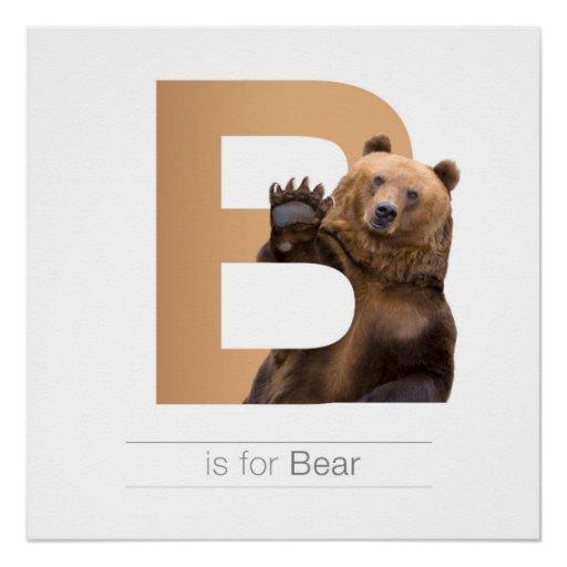 Animal Alphabet Nursery Wall Art B Bear Poster Zazzle