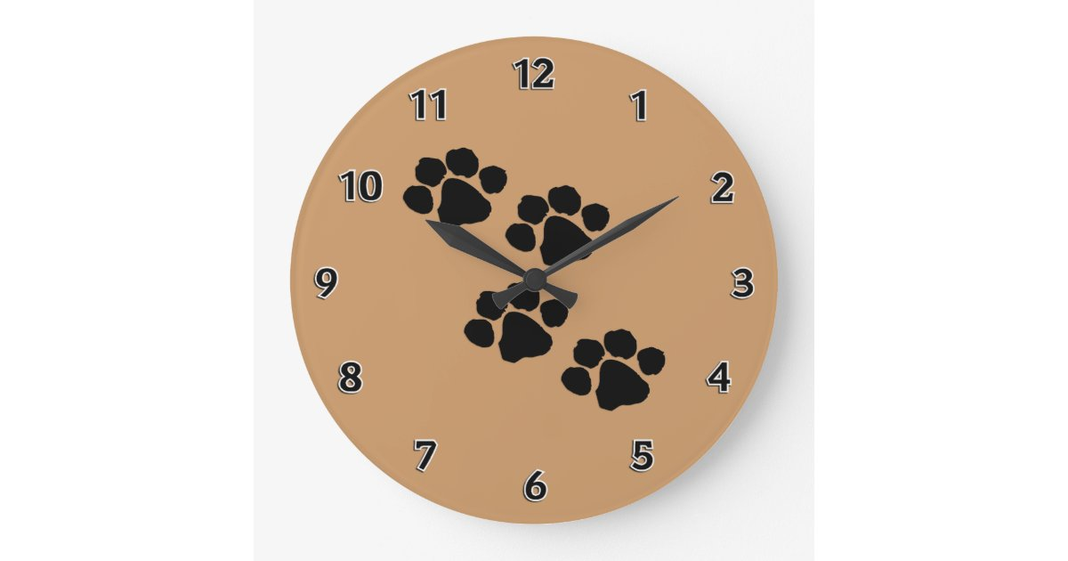 Animal Paw Prints Large Clock | Zazzle