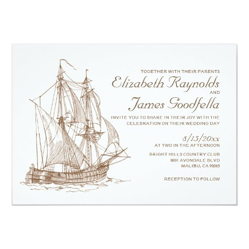 Sailboat Wedding Invitations: Antique Boat Wedding Invitations