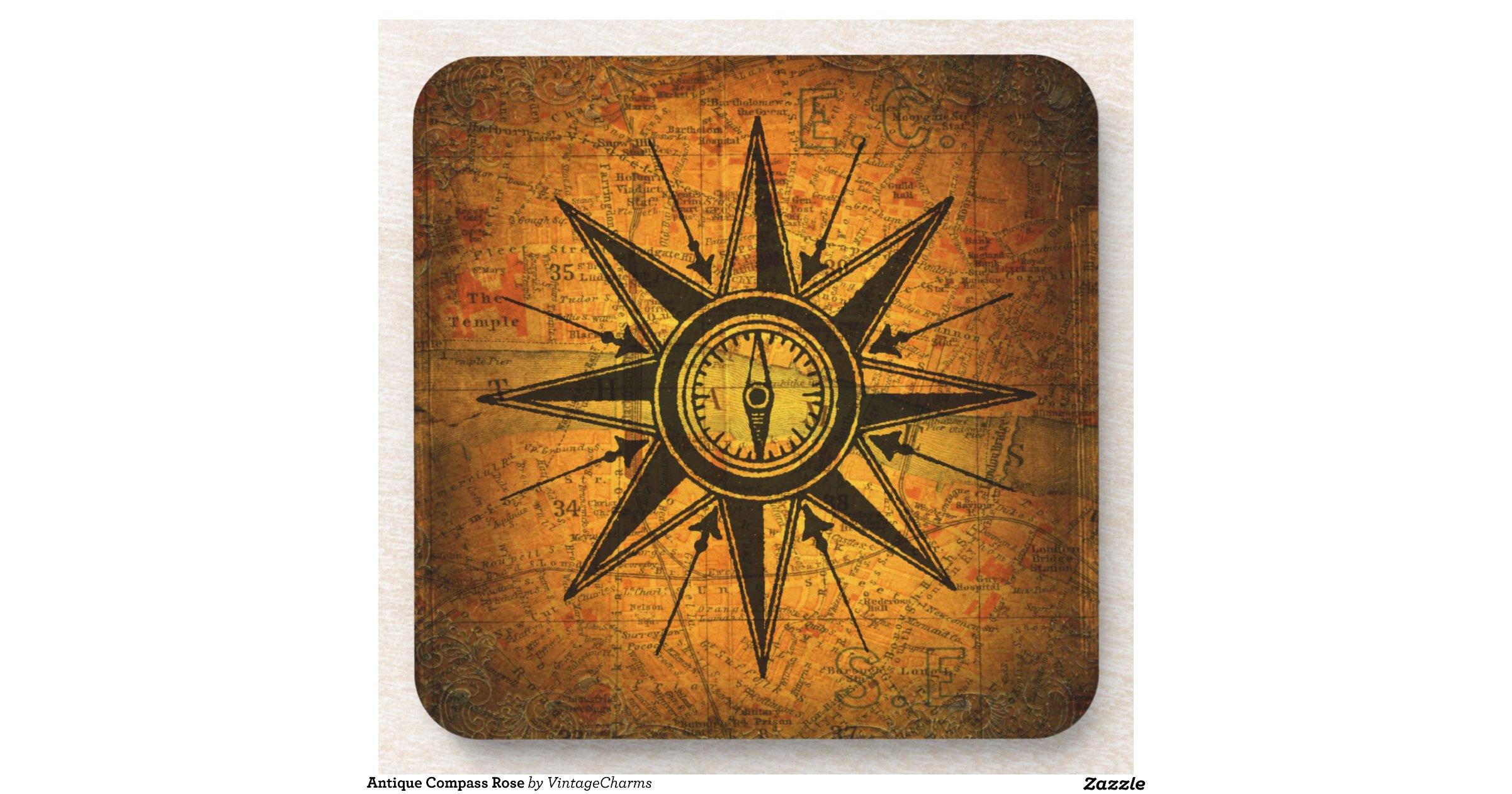 Beverage Coasters Antique Compass Rose