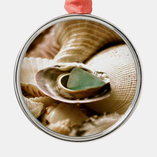 Baptism Ornament Round Glass: Antique Green Glass Round Metal Christmas Ornament