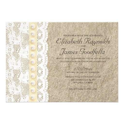 """Pearl And Lace Wedding Invitations: Antique Lace And Pearls Wedding Invitations 5"""" X 7"""