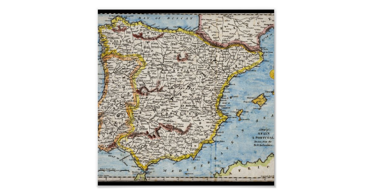 Antique Map Of Spain Amp Portugal Circa 1700 S Poster Zazzle