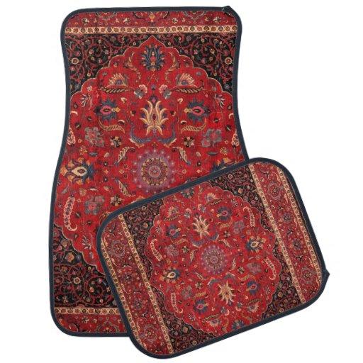 Antique Persian Mashhad Rug Car Mat