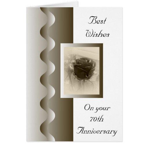 70th Wedding Anniversary Gift: Antique Rose 70th Wedding Anniversary Card