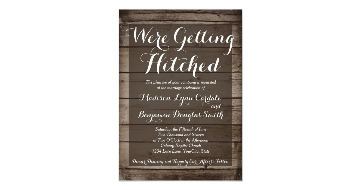 Hitched Wedding Invitations: Antique Wood Getting Hitched Wedding Invitations