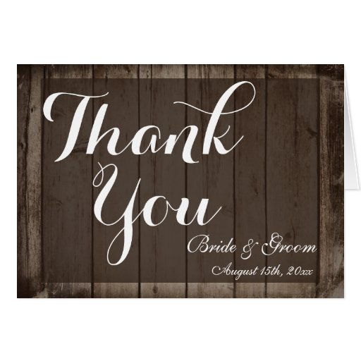 Antique Wood Personalized Wedding Thank You Cards