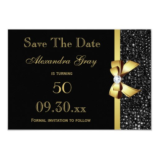 Any Age Birthday Save The Date Black and Gold Card | Zazzle