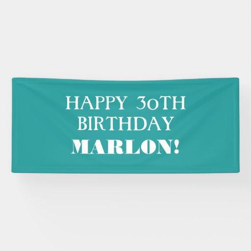 Any Age Teal Aqua Blue White Happy Birthday Banner