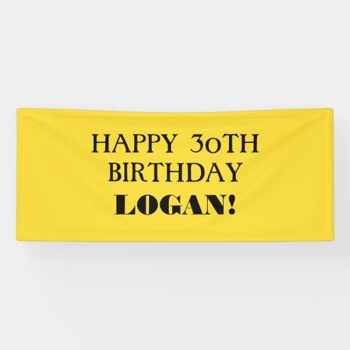 Any Age Yellow Black Custom Happy Birthday Banner