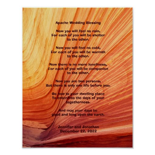 """Native American Wedding Quotes: Apache Wedding Blessing Poster 11"""" X 14"""" Matte"""