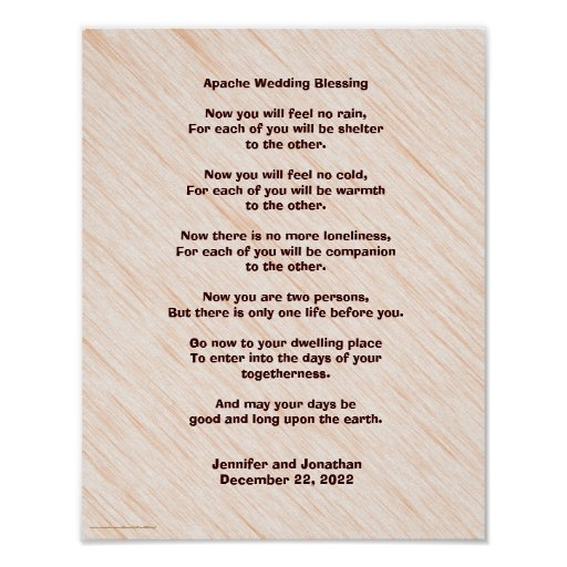 """Native American Wedding Gifts: Apache Wedding Blessing Poster 11"""" X 14"""" Matte"""