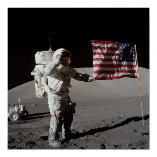 Apollo 17 Astronaut Salutes American Flag Poster | Zazzle