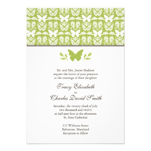 "Apple Green Wedding Invitations: Apple Green And White Butterfly Wedding Invitation 5"" X 7"