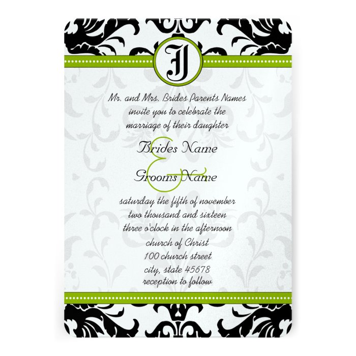 Apple Green Wedding Invitations: Apple Green & Black Dots Damask Wedding Invitation